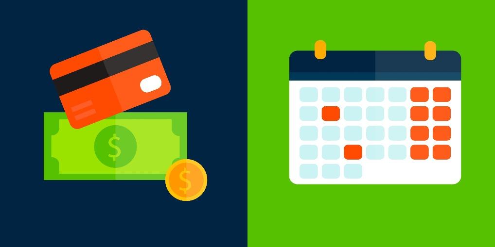 Imagem vetorizada de pagamento recorrente com calendário.