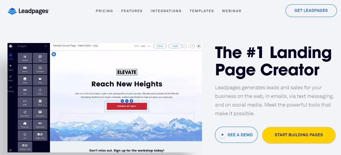 Criar landing pages LeadPages