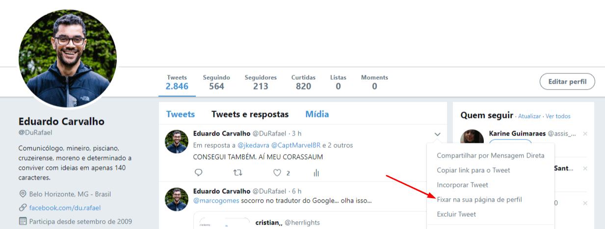 ganhar seguidores no twitter - fixar tweet-eduardo
