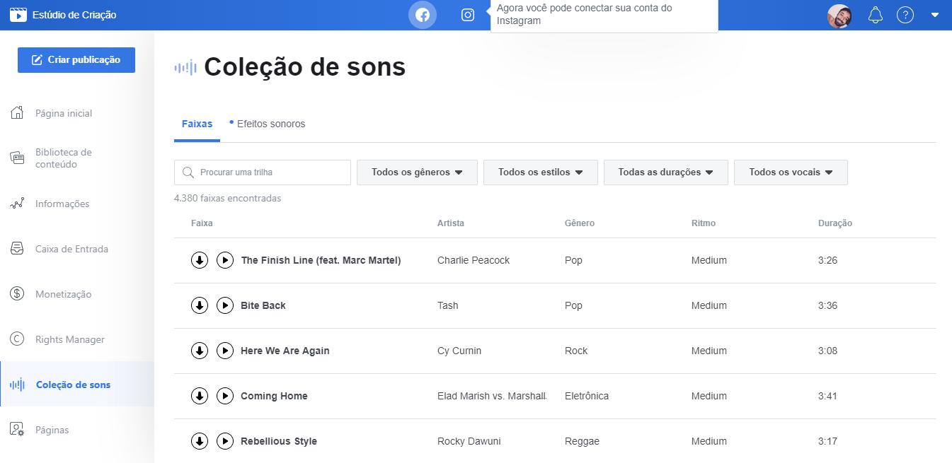 biblioteca de audio gratuito facebook
