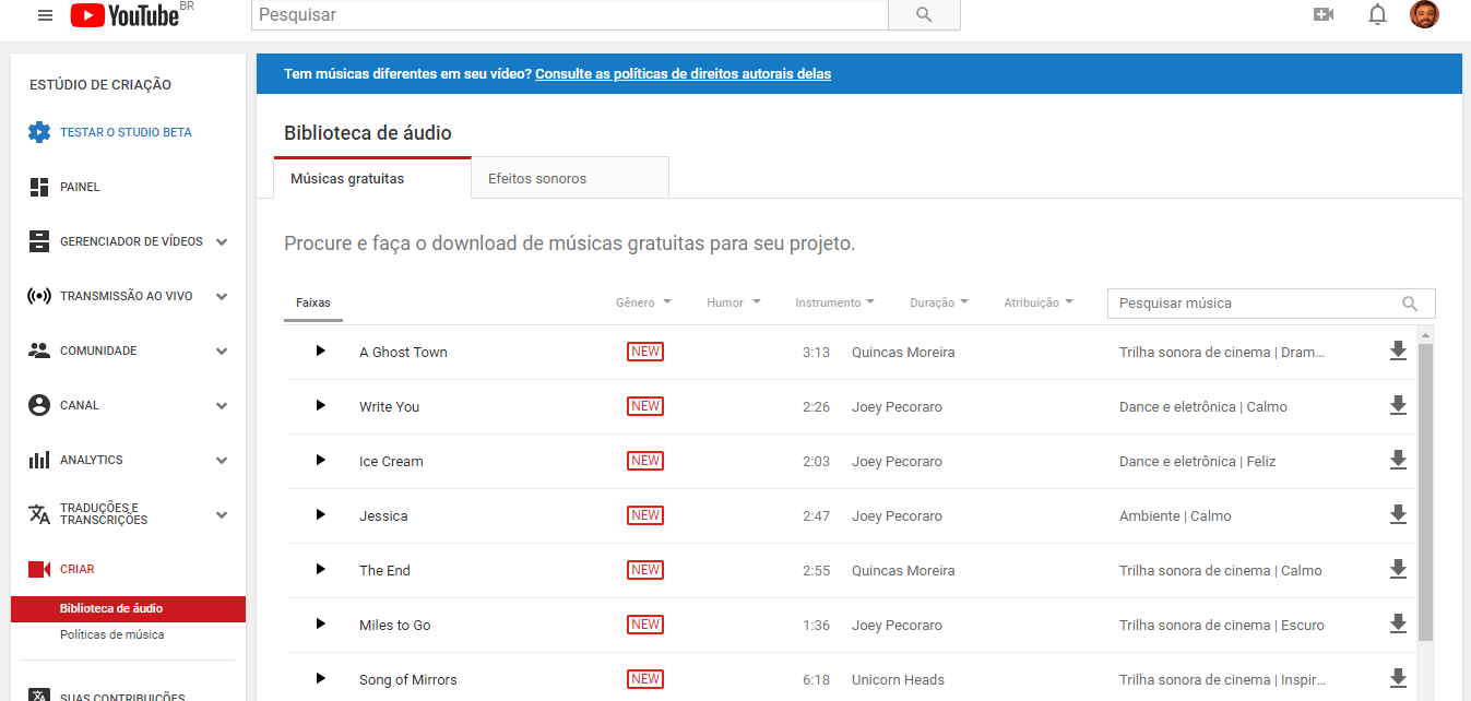 biblioteca de audio gratuito youtube