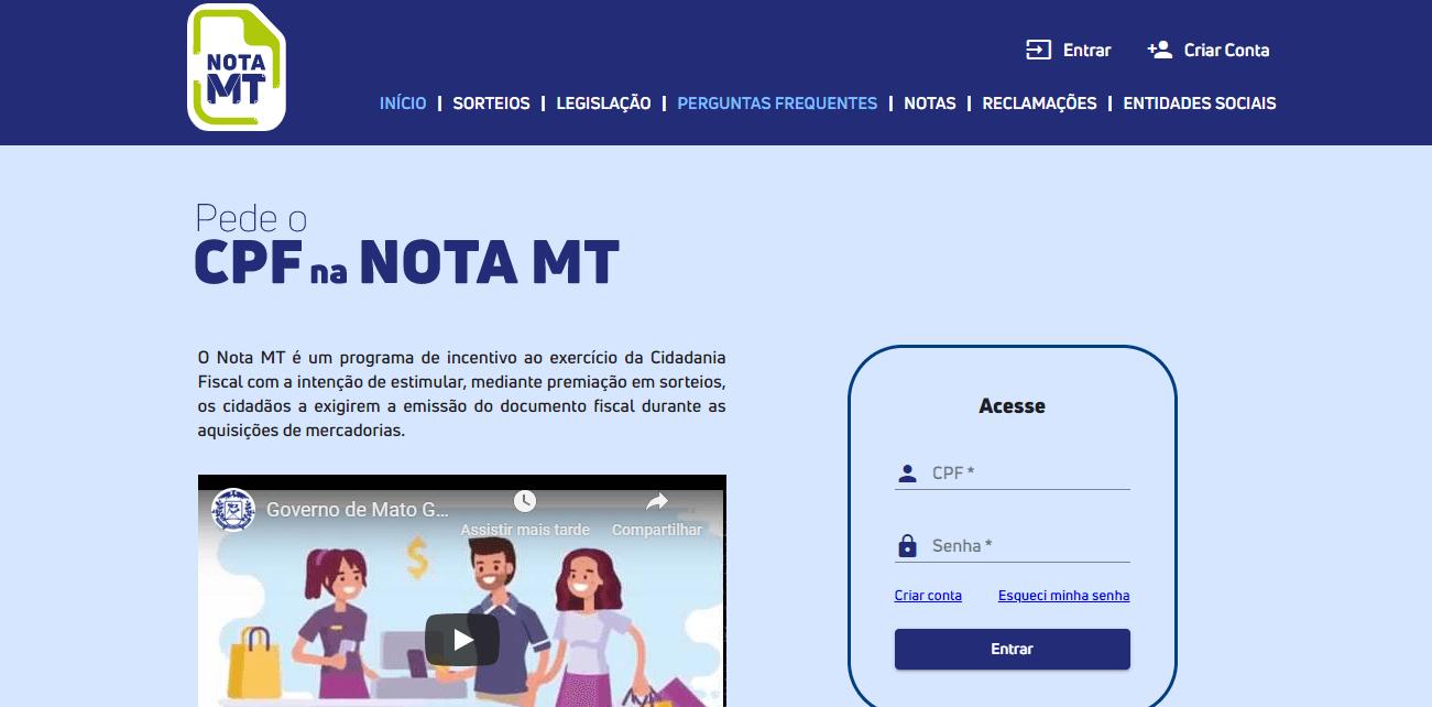 CPF na nota - Nota MT - Mato Grosso