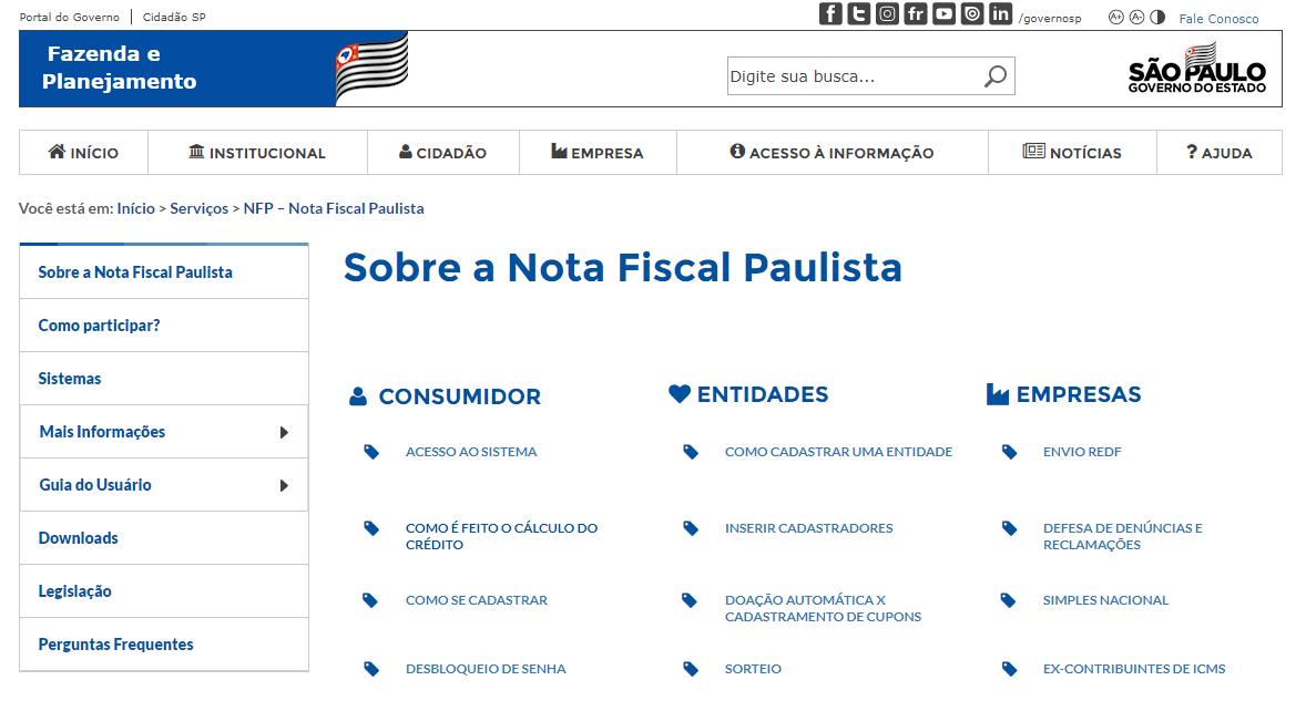 CPF na nota - nota fiscal paulista