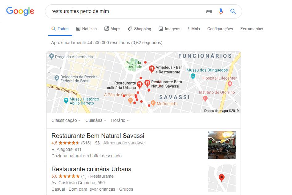 seo local - restaurantes perto de mim