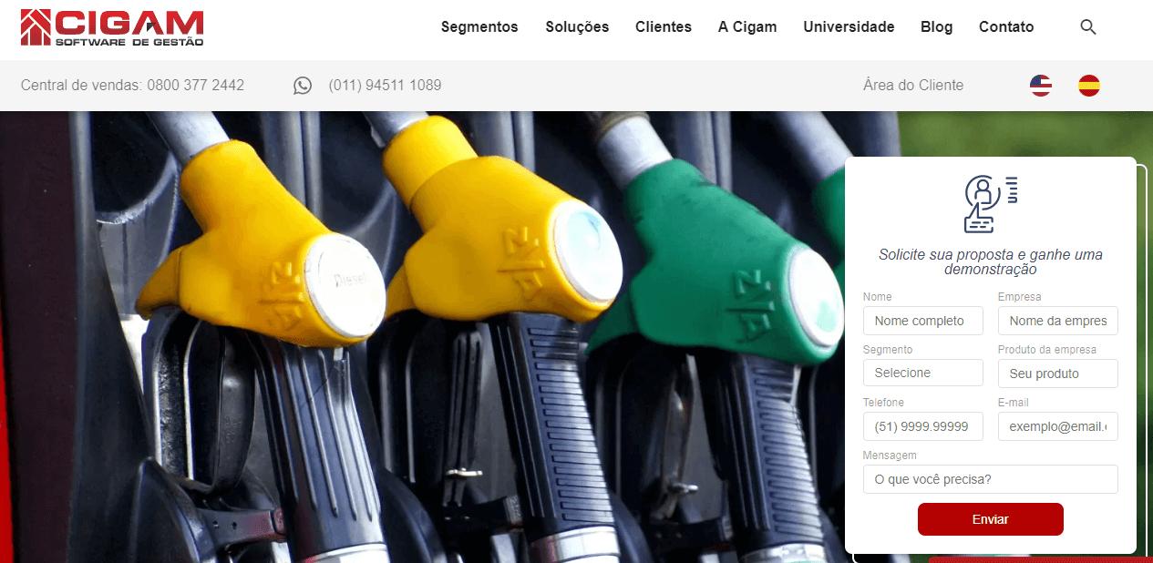 sistema para posto de gasolina - cigam