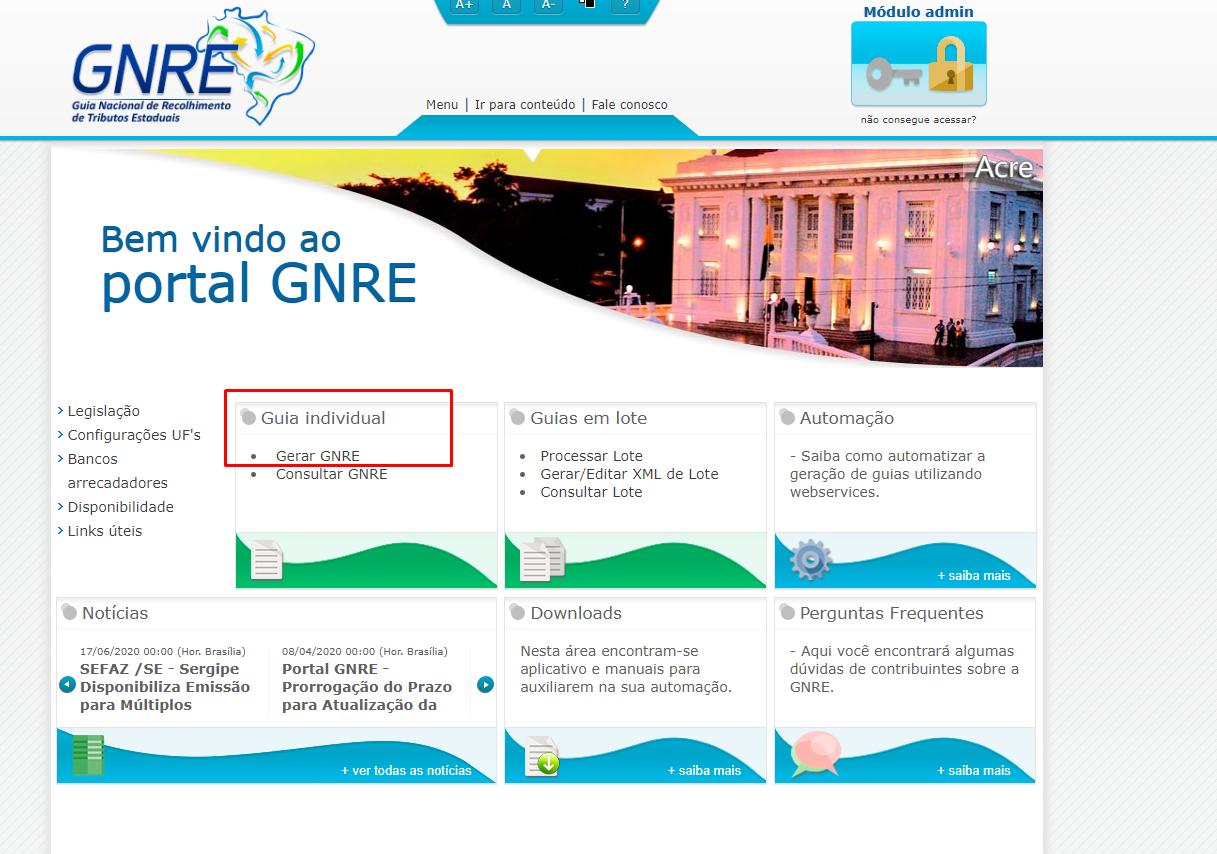 gerar guia GNRE