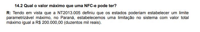 valor máximo nfc-e no Paraná