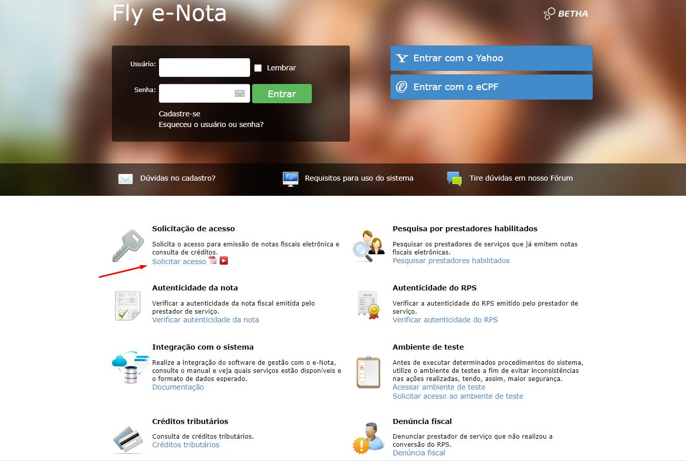 fly e-nota solicitar acesso