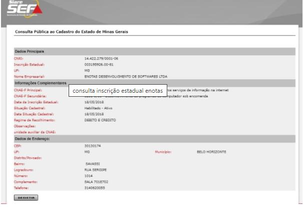 Sintegra - inscrição estadual