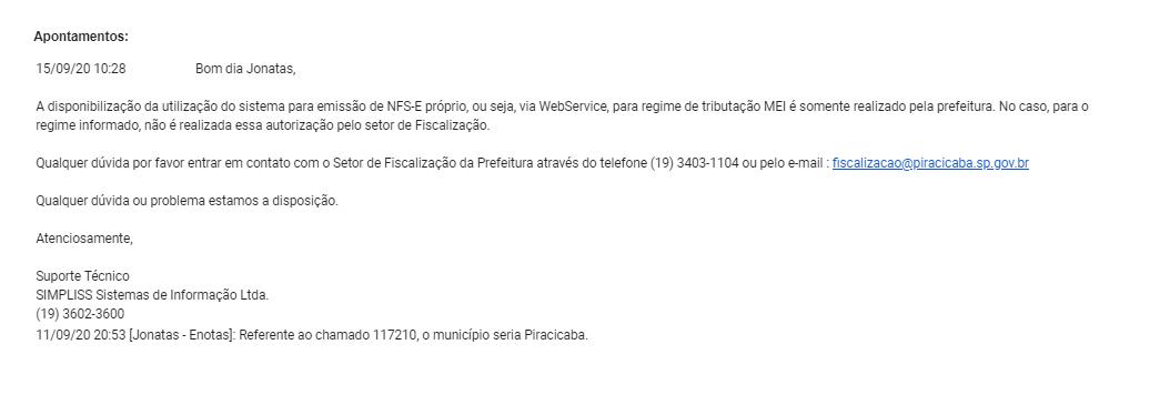 Resposta prefeitura de Piracicaba