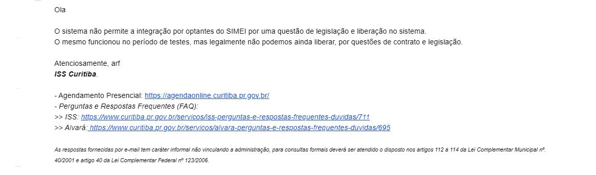 resposta prefeitura Curitiba