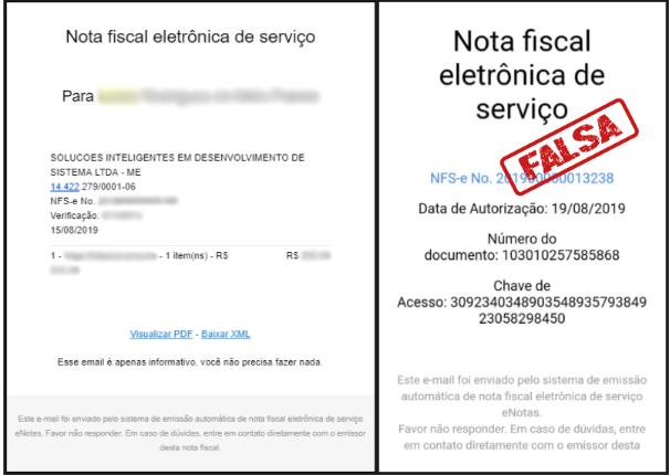 golpe da nota fiscal eletrônica falsa