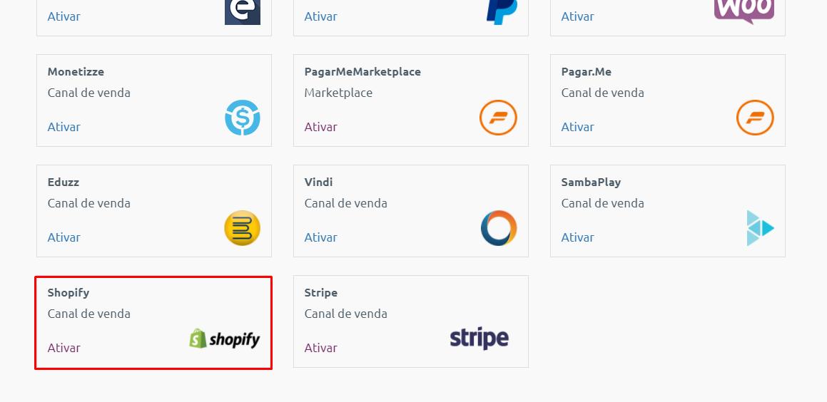 ativação integração shopify + enotas