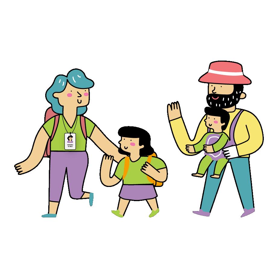 professora pais e alunos indo pra escola