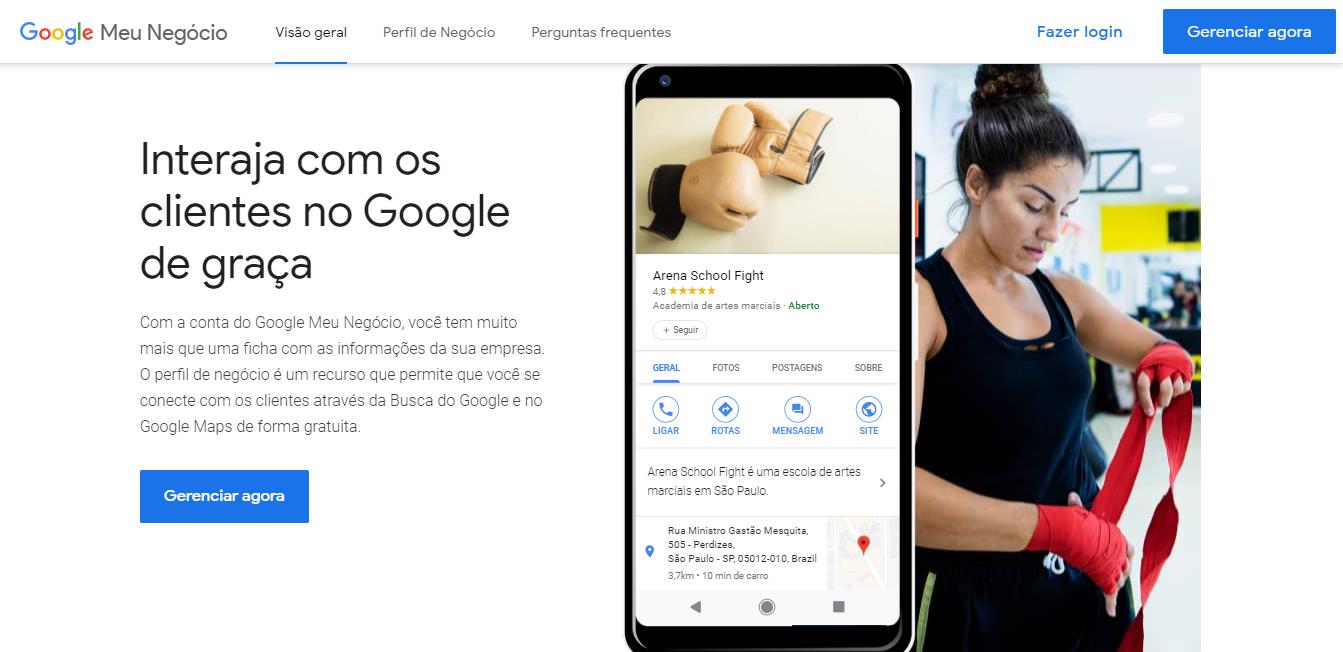 pagina inicial google meu negocio