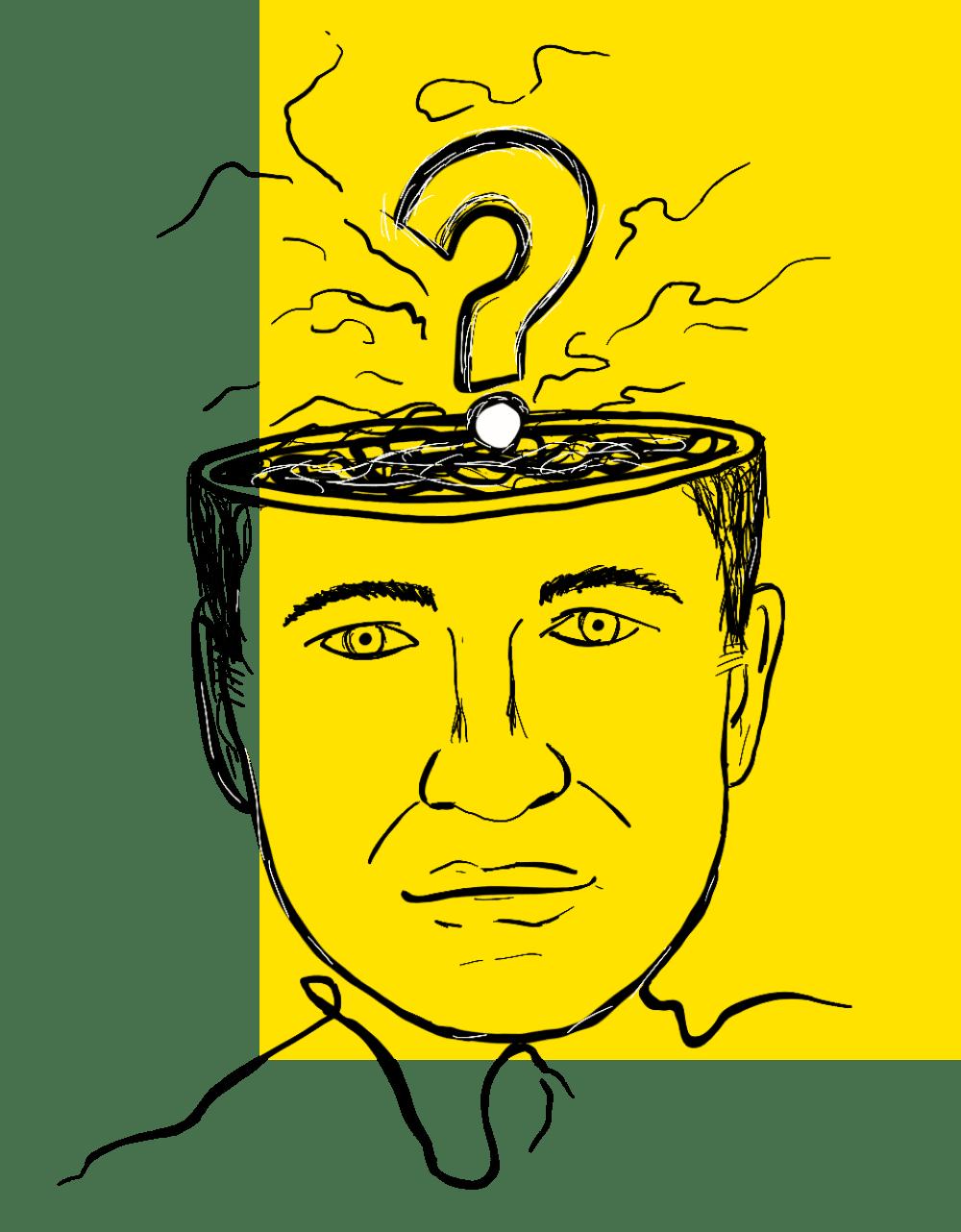 Ilustração de cabeça e uma interrogação